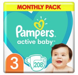 PAMPERS ACTIVE BABY MONTHLY BOX S3 208KS, 6-10KG